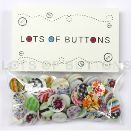 100 Printed Shell Buttons