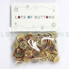100 Printed Wood Buttons
