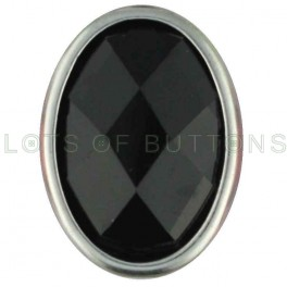 Black Faceted Oval
