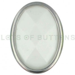 White Faceted Oval