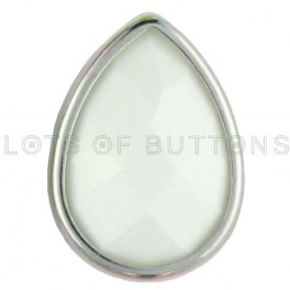 White Faceted Teardrop