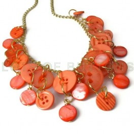 Pearly Coral Button Necklace