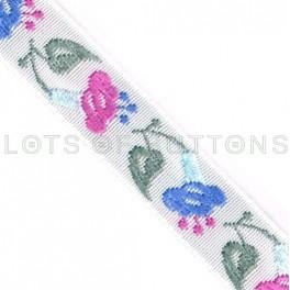 Flowers Woven Jacquard Ribbon (13mm)