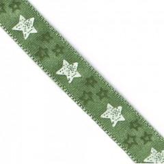 White Stars Green Satin Ribbon (9mm)