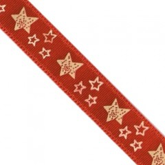 White Stars Red Satin Ribbon (9mm)