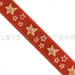 White Stars Red Satin Ribbon (9mm)