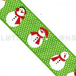 Green Dotted Snowmen Ribbon