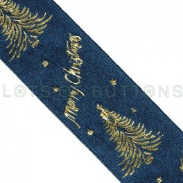 Blue Merry Christmas Ribbon