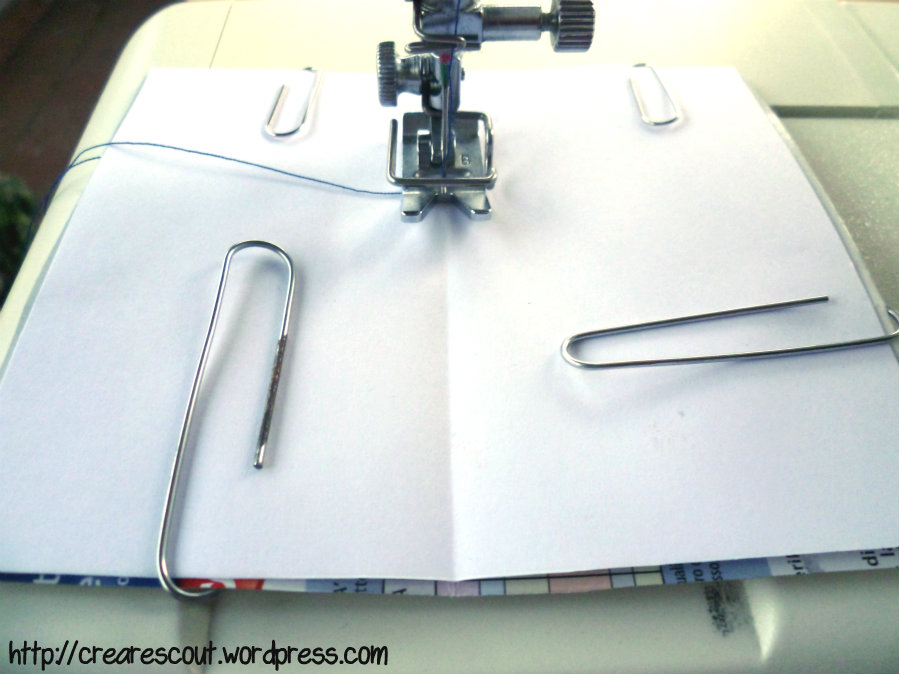 sew paper in the center